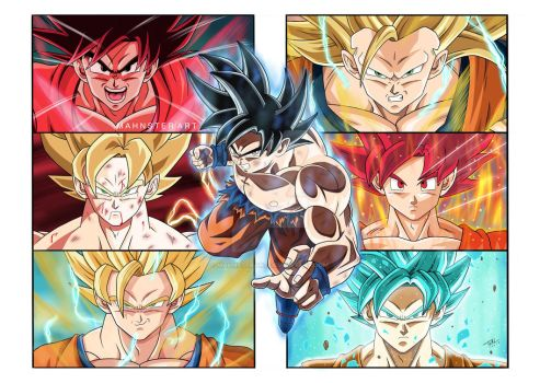 Evolution of Goku! by MahnsterArt