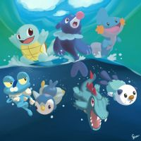 The Water Starters! by GenerallPedro