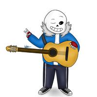Skele with a Guitar (Undertale - Sans) by lubans