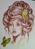 victorian lady and butterflies by lilmrsfrankenstein