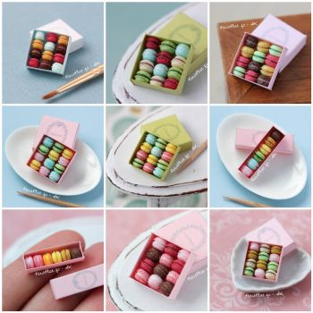 Many Miniature Macarons Boxes by PetitPlat