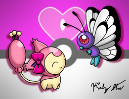 Skitty and Butterfree by drinkyourvegetable