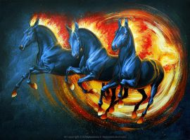 Fire horses by Anisis