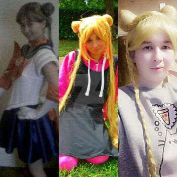Usagi Tsukino/ Sailor Moon costume and wigs. by Londonexpofan