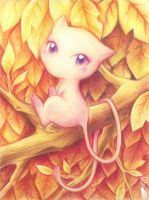 Mew in red leaves by elyoncat