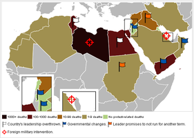 Map of Middle east protests by ArisKatsaris