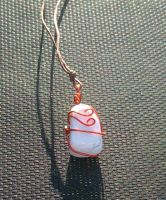 Red and White Howlite by zaphod-beeblebroxie