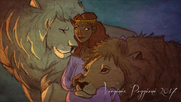 Girl  with lions by Shadla