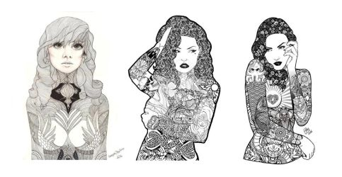 Progression of Tattooed Lady by Shannahigans