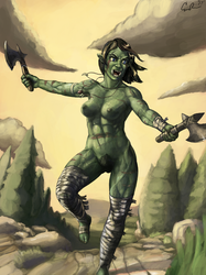 Orc Warrioress by Black-Cloak