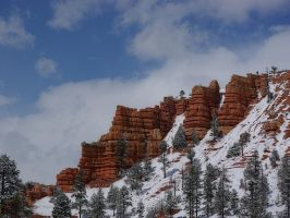 Red Rock Canyon Festooned With Spring Snow - 2 by chasphrey