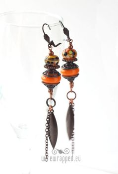 Ethno orange lampwork earrings by ukapala