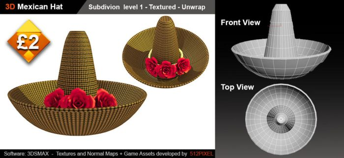 3d Mexican Hat-sale by bionicBots