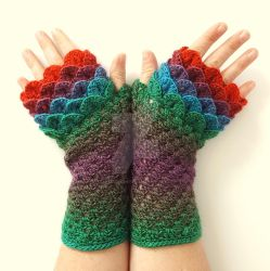 Macaw Dragon Gloves by FearlessFibreArts