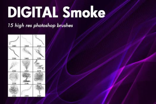 Digital smoke free Photoshop brushes by outlinez