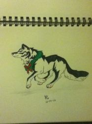 Christmas wolf by 01whitewolf