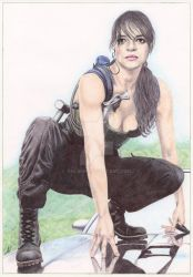 Michelle Rodriguez. Ballpoint pen. by valakh