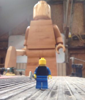 Giant wooden lego man lurking by Ragskin