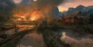VIETMINH: Village on fire by Skvor