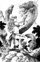 Red Sonja vs Snakes by donnyg4