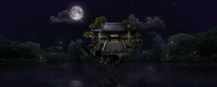 Matte Painting - Floating Temple by xxYukira