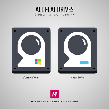 All Flat Drives Icons by Mahm0udWally