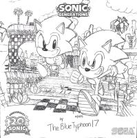 Classic and Modern Sonic running in Green Hill by BlueTyphoon17