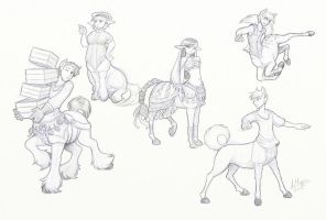 Centaur Sketches 3 by Kitsune64