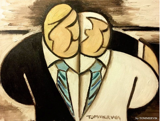 Abstract Mike Pence and Donald Trump Painting by TOMMERVIK