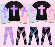 Pastel Nebula Cross T-shirts and Leggings! by Bon-Bon-Bunny