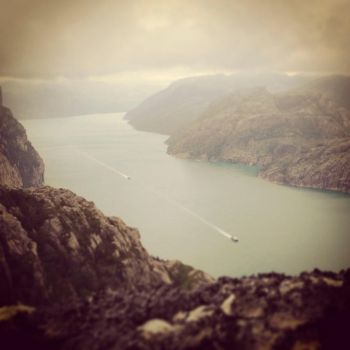 Two boats in Lysefjorden by T2norway