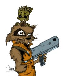 Rocket Racoon And Groot by ramova