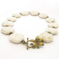 White Stone Necklace With Magnesite Beads by MoonlightCraft