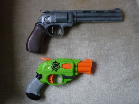 Nerf DoubleStrike, InLine Clip - Before and After by hoellenhamster