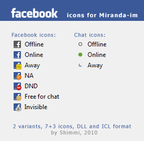 Facebook icons for Miranda-im by Shimmi1