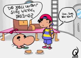 Ness Visits Mr. Saturn by C-Fillhart
