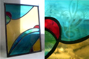 Abstract panel with engraved elements by ioglass