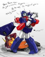 Ultra Magnus Vs  Roach color by illmatar