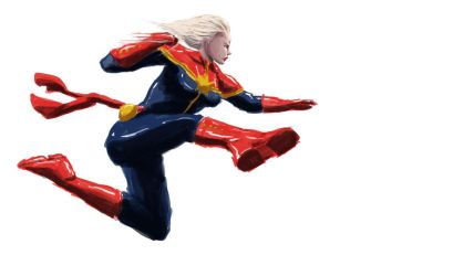 Captain Marvel Punch by orphancrow