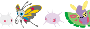 Wurmple, Silcoon, Beautifly, Cascoon + Dustox Base