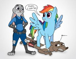 Dash and Judy Pop the Weasel by JohnRaptor