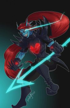 A Real Hero Laughs at Death - Undyne by LadyFiszi