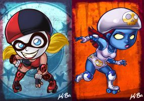 DC VS Marvel Roller Derby: Harley Quinn/Mystique by kevinbolk