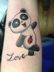 My Panda Tattoo on my left forearm by chenoasart