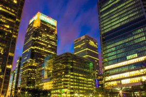 Canary Wharf at night by JSWoodhams
