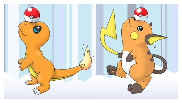 Charmander and Raichu balance game by SleepyVoodle