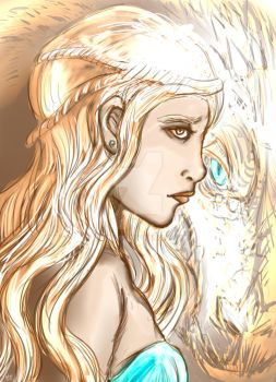 Daenerys and Viserion by Oizofu01