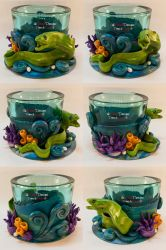 Turquoise Tealight Glass with a Moray Eel by spaceship505