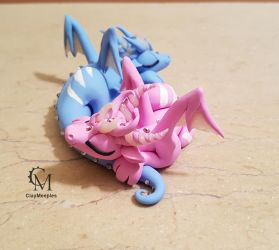 dragon couple - baby blue and pink by claymeeples