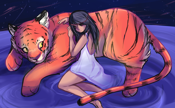 a girl and her tiger by Frosti-Kat